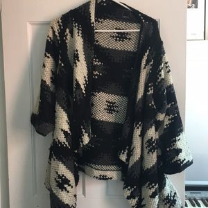 Dolce Vita Sweaters - Dolce Vita Black, White, Gray Wrap Sweater